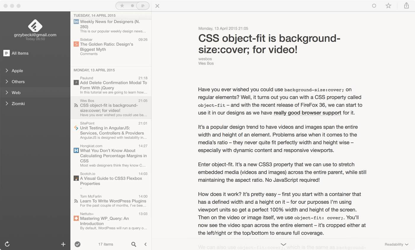 Reeder for Mac OS X