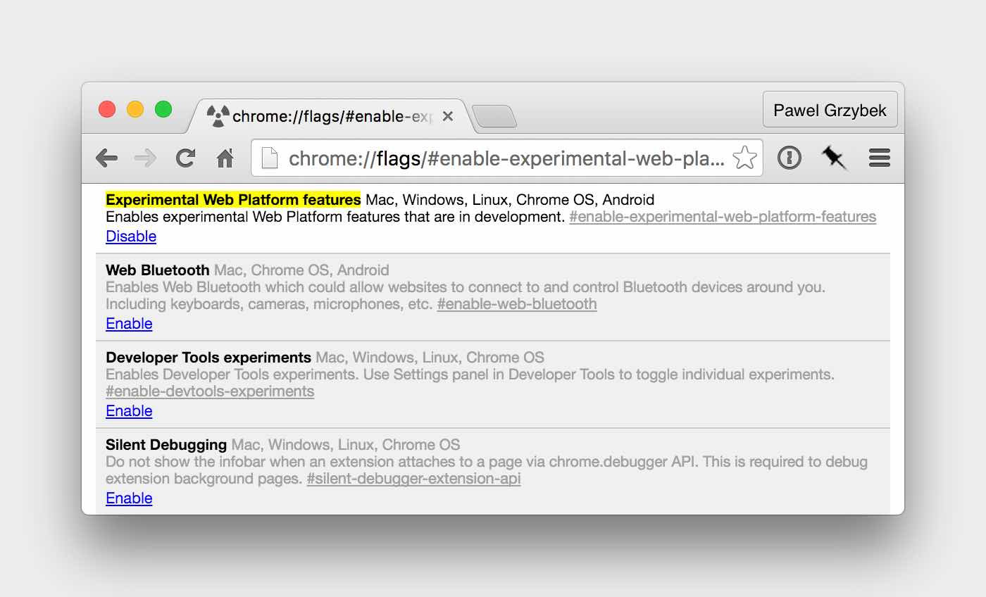 Enable Experimental Web Platform Featured Flag in Google Chrome