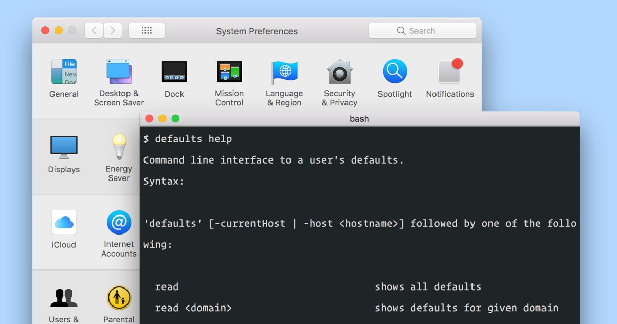 Change macOS user preferences via command line