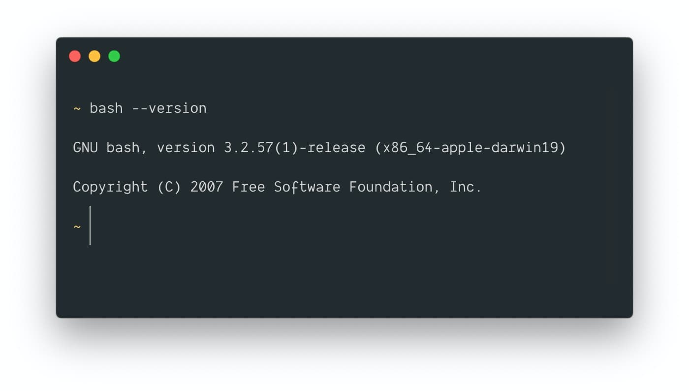 Bash in version 3.2.57 on macOS Mojave