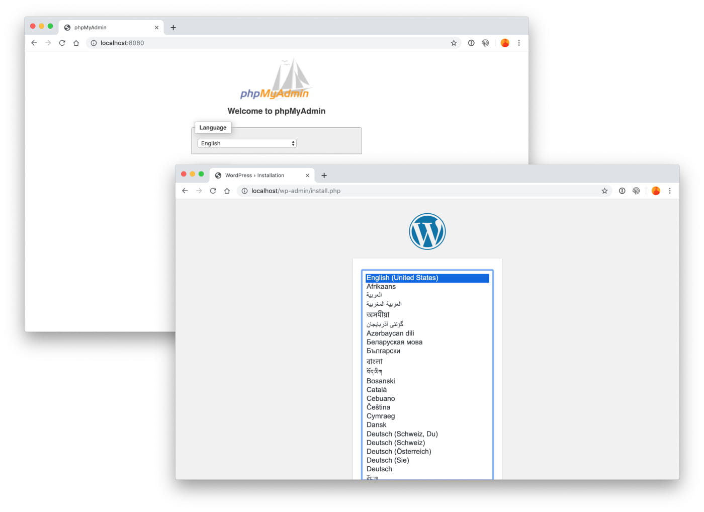 Run docker-compose command to spin up a WordPress website