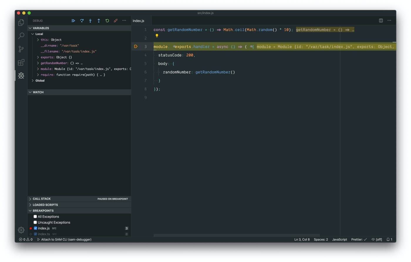 Attach Viusal Studio Code debugger to JavaScript file