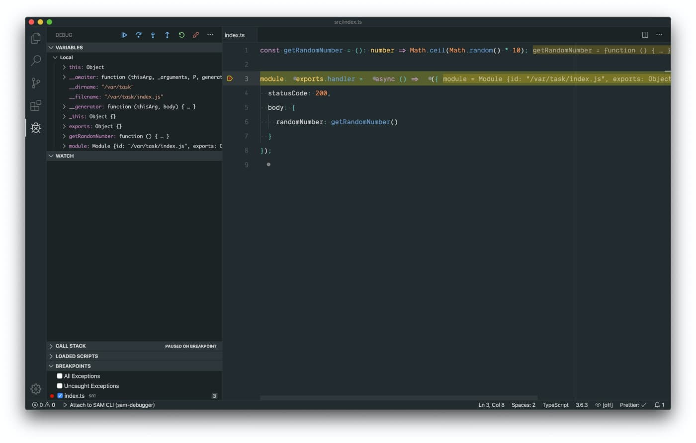 Attach Viusal Studio Code debugger to TypeScript file